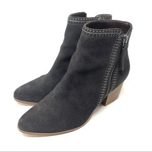 Sole Society Corinna Dark Gray Suede Booties 7.5